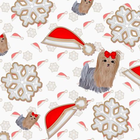 Christmas Cookies - yorkie & snowflake hats fabric by sherry-savannah on Spoonflower - custom fabric
