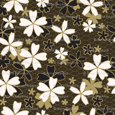 Japanese classic Sakura floral with golden stroke and black waves