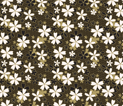 Japanese classic Sakura floral with golden stroke and black waves fabric by ilonitta on Spoonflower - custom fabric