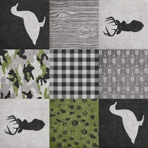 Ducks & Trucks//Green//Black - Wholecloth Cheater Quilt - Rotated