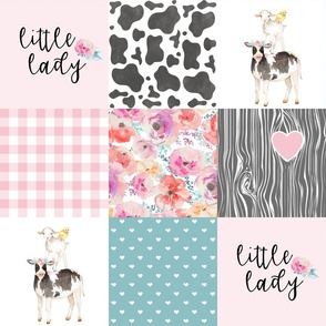 Farm//Little Lady//Love you till the cows come home//Pink&Teal - Wholecloth Cheater Quilt
