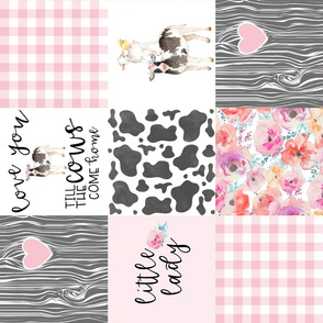 Farm//Little Lady//Love you till the cows come home//Pink&Teal - Wholecloth Cheater Quilt - Rotated