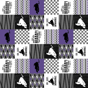 Eat Sleep Snowmobile//Purple - Wholecloth Cheater Quilt