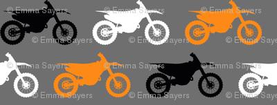 Motocross//Dirtbikes - Orange on Grey