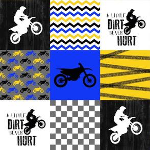 Motocross//A little dirt never hurt//Blue/Yellow - Wholecloth Cheater Quilt