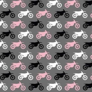 Motocross/Dirtbikes - Pink on Grey