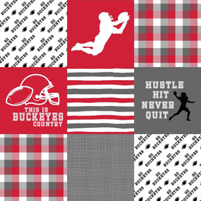 Football//Hustle Hit Never Quit//Buckeyes - Wholecloth Cheater Quilt