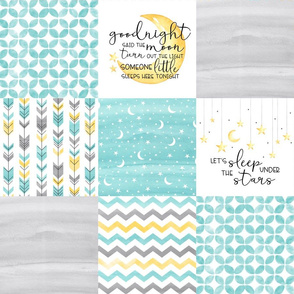Goodnight said the moon//Lets Sleep under the stars//Turquoise - Wholecloth Cheater Quilt