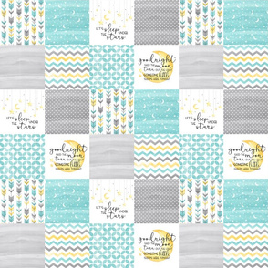 3 inch Goodnight Said the Moon//Let's sleep under the stars//Turquoise - Wholecloth cheater quilt