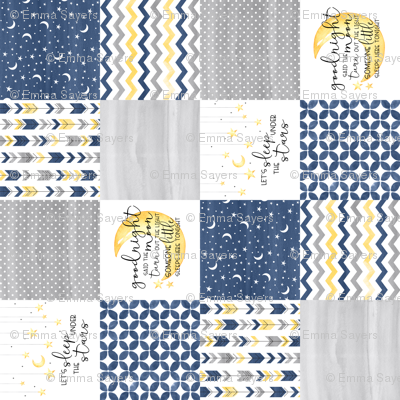 Goodnight Said the Moon//Let's Sleep under the stars//Navy - Wholecloth Cheater Quilt - Rotated