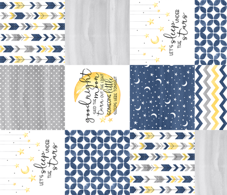 Goodnight Said the Moon//Let's Sleep under the stars//Navy - Wholecloth Cheater Quilt - Rotated fabric by longdogcustomdesigns on Spoonflower - custom fabric