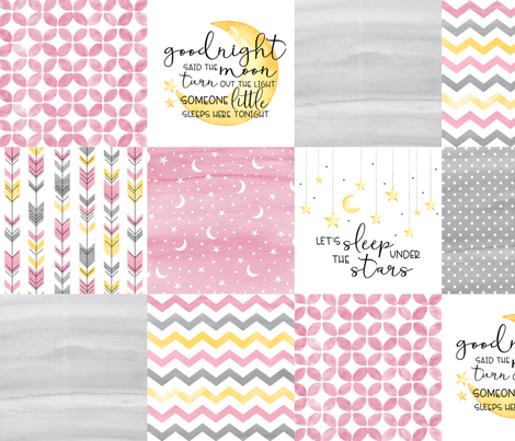 Goodnight Said the Moon//Let's Sleep under the stars//Pink - Wholecloth Cheater Quilt fabric by longdogcustomdesigns on Spoonflower - custom fabric