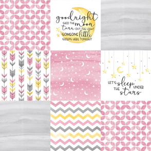 Goodnight Said the Moon//Let's Sleep under the stars//Pink - Wholecloth Cheater Quilt