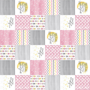 3 inch Goodnight Said the Moon//Let's Sleep under the stars//Pink - Wholecloth Cheater Quilt- Rotated
