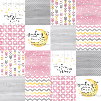 3 inch Goodnight Said the Moon//Let's Sleep under the stars//Pink- Wholecloth Cheater Quilt