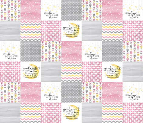 3 inch Goodnight Said the Moon//Let's Sleep under the stars//Pink- Wholecloth Cheater Quilt fabric by longdogcustomdesigns on Spoonflower - custom fabric