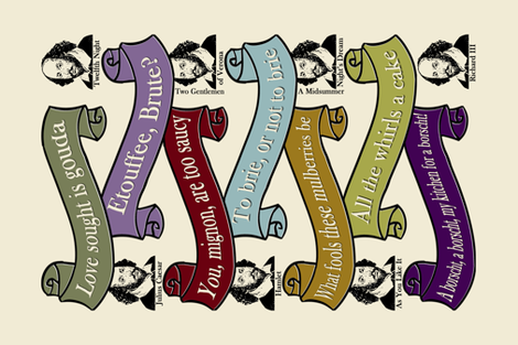 Shakespeare-in-the-Kitchen Pun Tea Towel fabric by barbaramarrs on Spoonflower - custom fabric