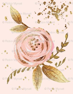 whimsy blush floral golden leaves glitter sparkles