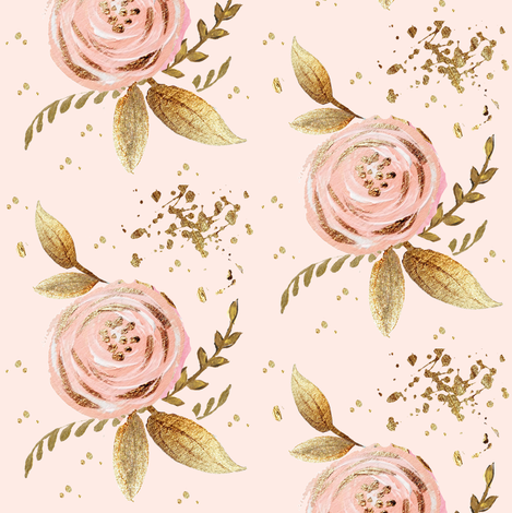 whimsy blush floral golden leaves glitter sparkles fabric by parisbebe on Spoonflower - custom fabric