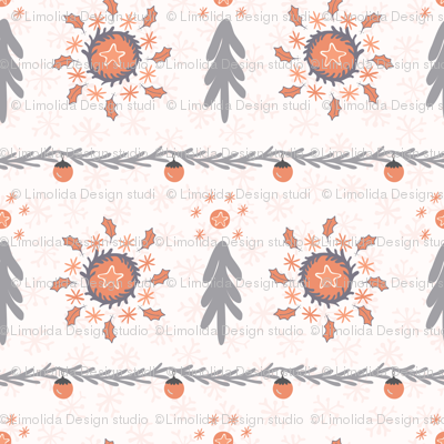 Orange And Grey Christmas Tree Wreath Stripes Winter
