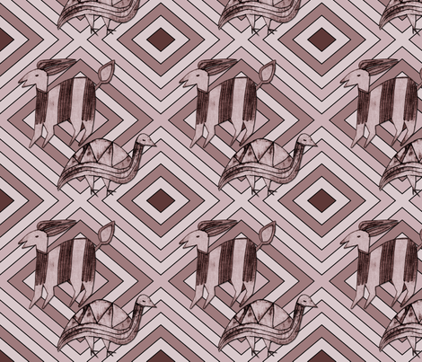 Antelope & Guinea Fowl on Mauve fabric by barbaramarrs on Spoonflower - custom fabric