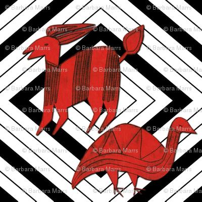Red Antelope & Guinea Fowl on Black & White