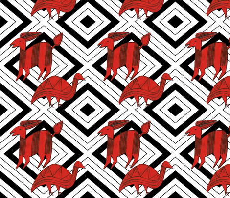 Red Antelope & Guinea Fowl on Black & White fabric by barbaramarrs on Spoonflower - custom fabric