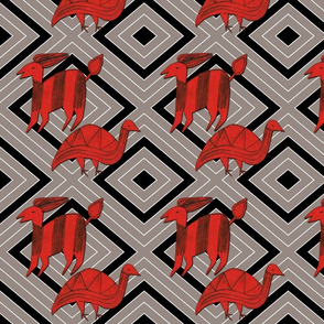 Red Antelope & Guinea Fowl on Gray & Black & White