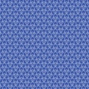 Small Biohazard Trefoils Blue on Blue