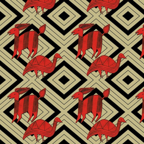 Red Antelope & Guinea Fowl on Khaki & Black