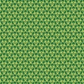 Small Biohazard Trefoils Yellow on Green