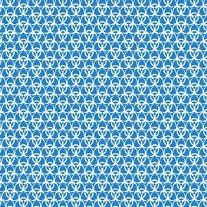 Small Biohazard Trefoils White on Blue