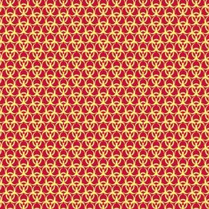 Small Biohazard Trefoils  Yellow on Red