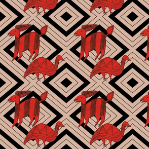 Red Antelope & Guinea Fowl on Taupe & Black