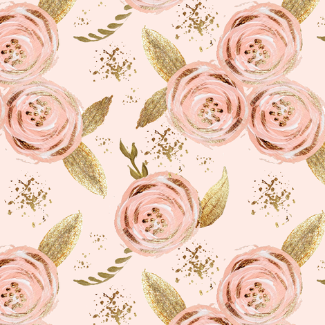 Romantic blush floral roses multi gold glitter medium fabric by parisbebe on Spoonflower - custom fabric