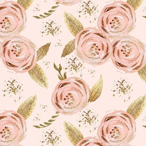 Romantic blush floral roses multi gold glitter medium