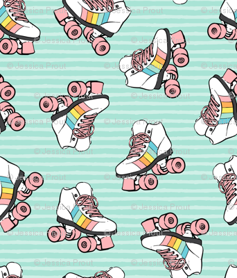 roller skates - pink on aqua stripes