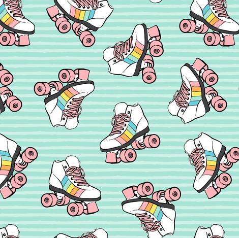 roller skates - pink on aqua stripes fabric by littlearrowdesign on Spoonflower - custom fabric