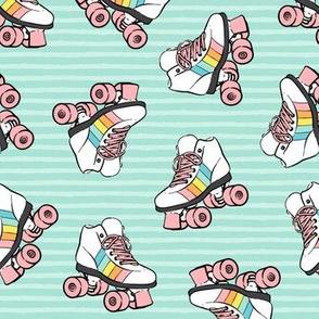 roller skates - pink on aqua stripes