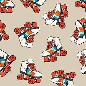 roller skates - retro on tan