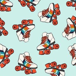 roller skates - retro on blue