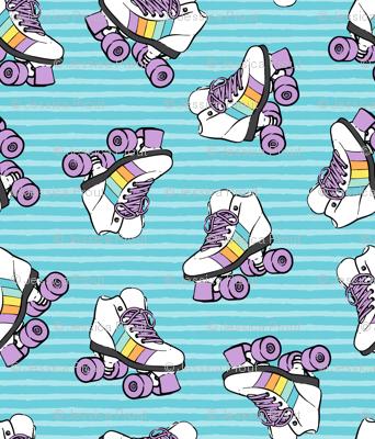 roller skates - blue stripes