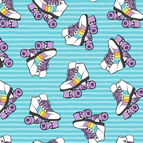 roller skates - blue stripes fabric by littlearrowdesign on Spoonflower - custom fabric