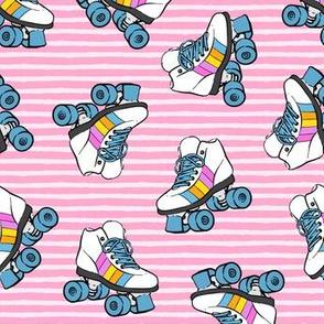 roller skates - pink stripes