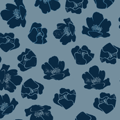 Flower Spots, Deep Ink-Blue on Light Blue