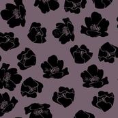 Flower Spots, Black on Mauve Grey