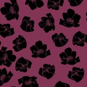 Flower Spots, Black on Deep Magenta