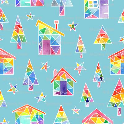 Rainbow Winter Huts - blue