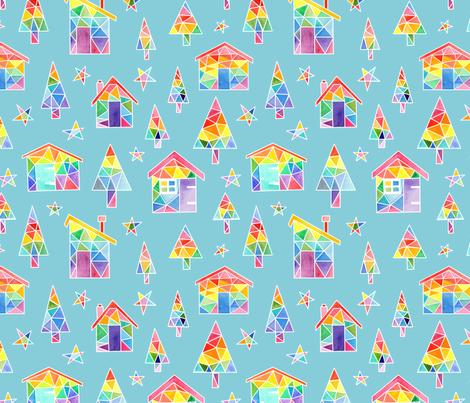 Rainbow Winter Huts - blue fabric by emeryallardsmith on Spoonflower - custom fabric