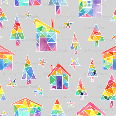 Rainbow Winter Huts - pale grey